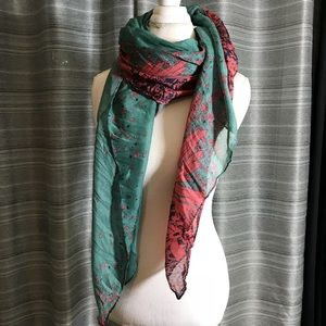 Teal and coral flower print scarf